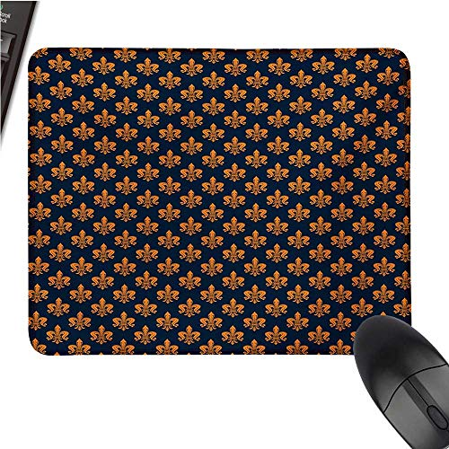 (Fleur De Lislarge Mouse padVictorian Floral Pattern of Orange Color and Curly Ornaments Gothic EraComfortable Mousepad 9.8