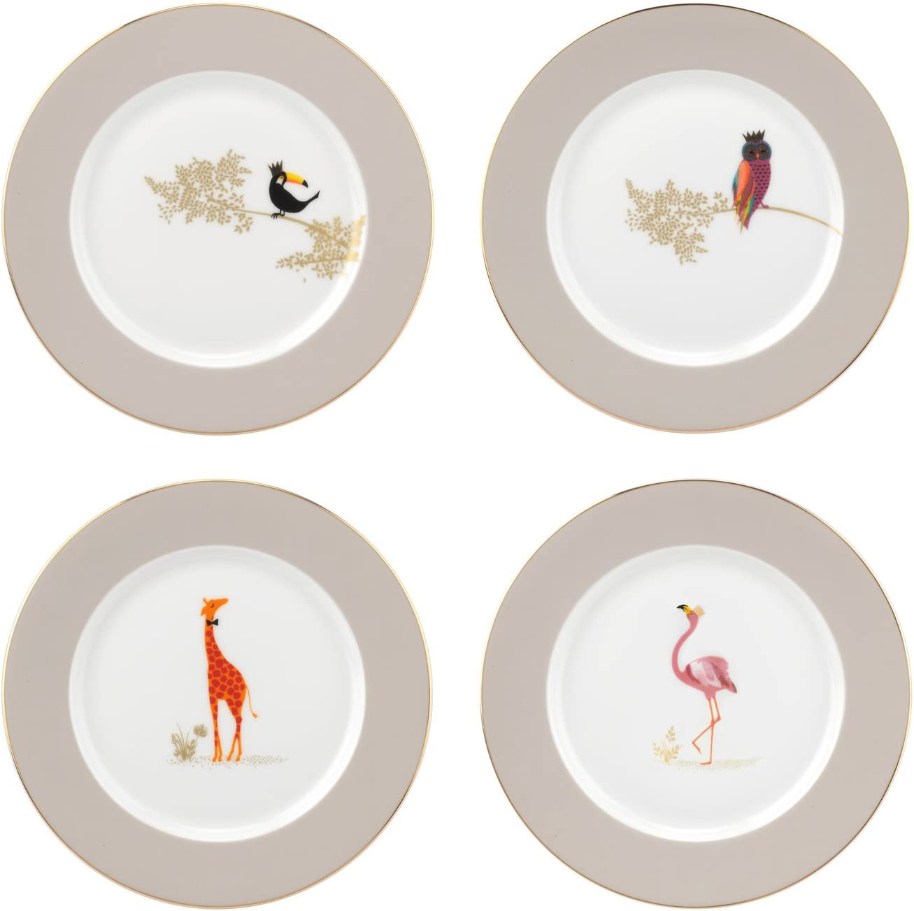 "Portmeirion Home & Gifts Piccadilly 8"" Plates Set of 4, Ceramic, Multi-Colour, 23 x 23 x 5.5 cm"