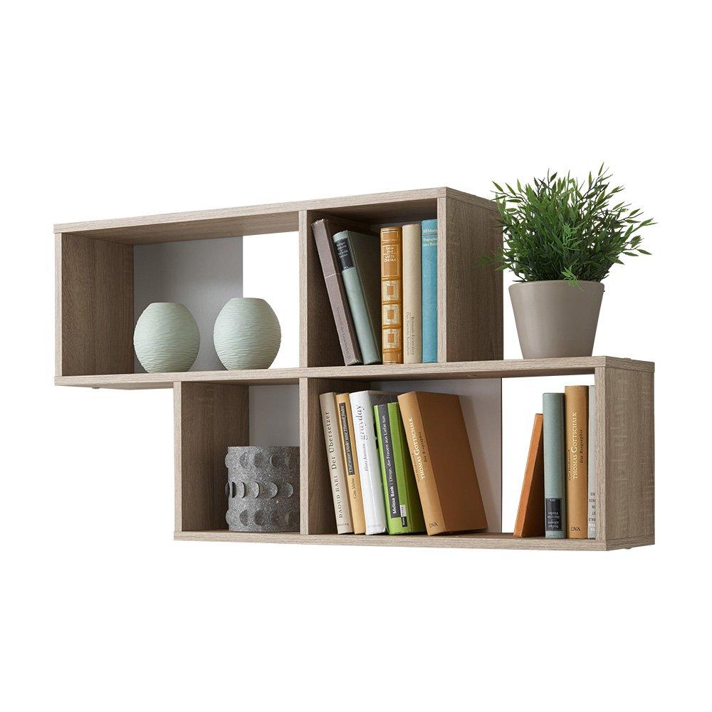 13Casa - Zed A4 - Libreria a muro. Dim: 100x19,5x53 h cm. Col: Rovere, Bianco. Mat: Truciolare. 270-001 F00650303023_BIANCO