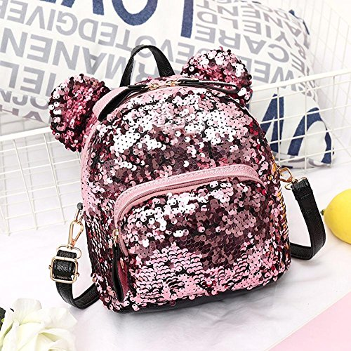 Teenage Girls Shining Women Sequins Travel Bags Party School Pink Backpacks Mini Prosperveil HXZIwxdqI