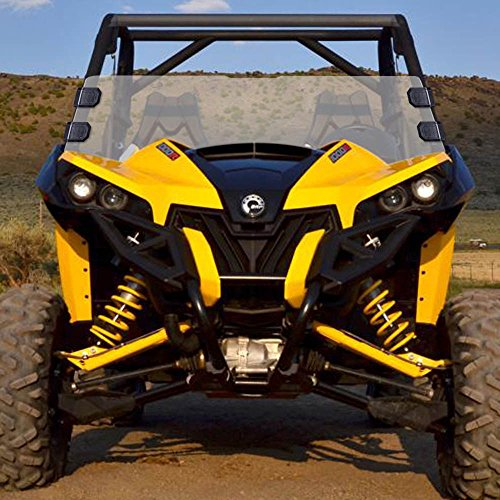 (Can-am Maverick Scratch Resistant Clear Half Front Windshield w/ Clamps)