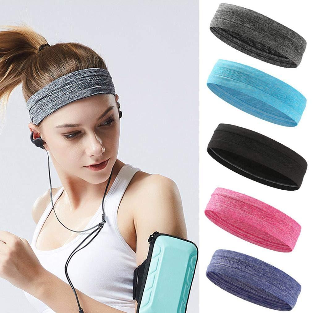 Sport Yoga Headband Elastic Stretch Sweat Sweatband Wristband Turban Gym Hair Head Band for Men and Woman Moisture Wicking Hair Accessories (Purple) by Appoi Headband Headwrap (Image #2)