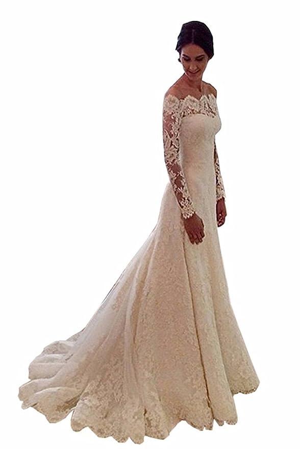 Cloverbridal Damen Hochzeitskleider A Linie Elegant Lange Ärmel Spitze von  der Schulter Brautkleider mit Zug