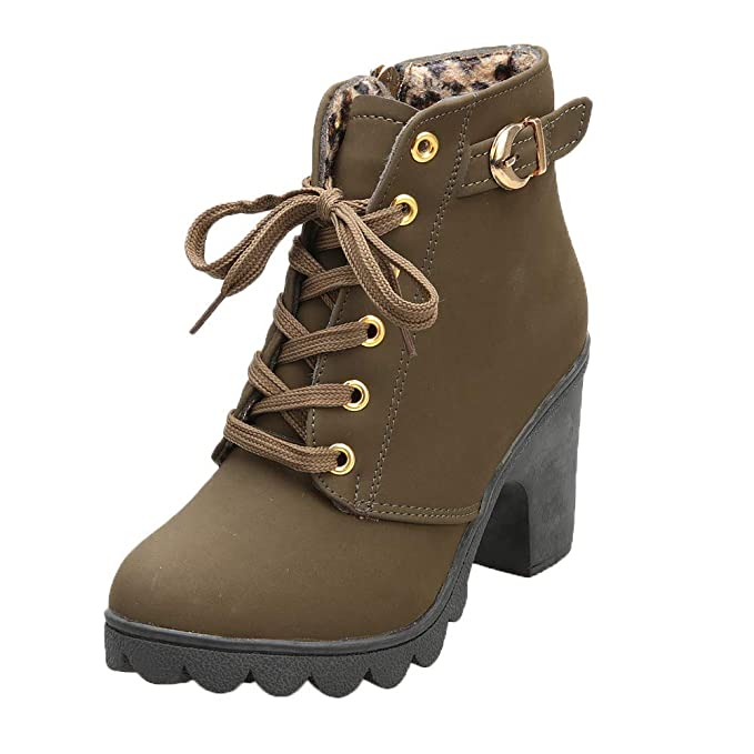 a6936fb98dd02 Amazon.com: 2019 New Womens Fashion High Heel Lace up Ankle Boots ...