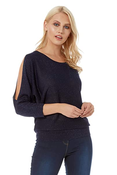 90f65fa0d15c8 Roman Originals Womens Lurex Split Sleeve Top Round Neck Long Sleeve Top -  Ladies Christmas Comfy Knitwear for Everyday Daytime Casual Work Wear Party  ...