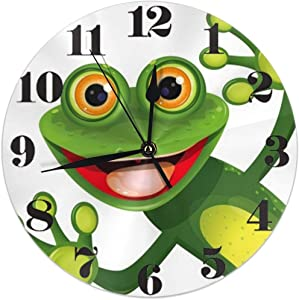 KiuLoam Funny Green Frog Round Wall Clock Silent Non Ticking Battery Operated Easy to Read for Student Office School Home Decorative Clock Art