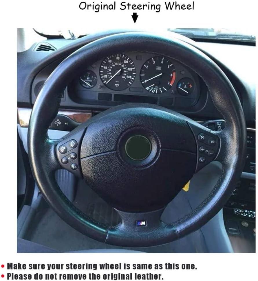 XLTWKK Enveloppe de Volant de Voiture rev/êtement Sportif antid/érapant pour BMW E39 s/érie 5 1999-2003 E46 s/érie 3 1999-2005 E53 X5 E36 Z3