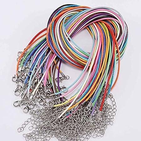 LINWX 10 unids/Lote 1,5 / 2mm Collar de cordón de Cuero Real con Cierre de Cuerda Trenzada Ajustable para Hacer joyería DIY Collar Pulsera