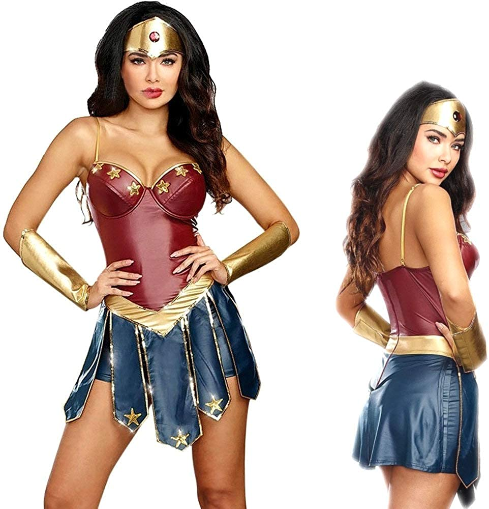 Amazon Com Lababala Wonder Woman Cosplay Costumes Adult Justice League Super Hero Women Sexy Fancy Dress Diana Clothing
