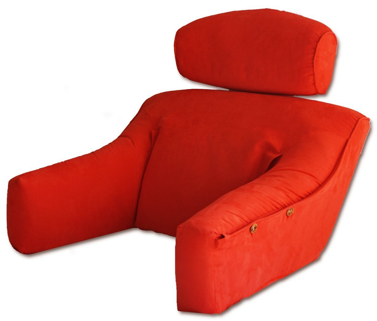 Vibrant Red Premium MicroSuede Bedlounge Reading Pillow - Reading in Bed, for Deep Couches, Watching TV and Reading to Children. REGULAR SIZE