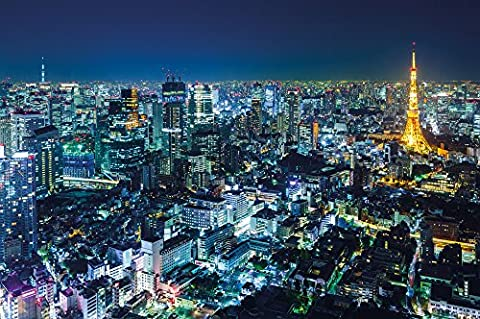 Poster Tokyo City Mural Decoration Tokyo Skyline Night Metropolis Tokyo Tower Panorama Picture Japan Decoration Cosmopolitan City Travel | Wallposter Photoposter wall decor by GREAT ART 55 x 39.4 - Buy Anime Japan