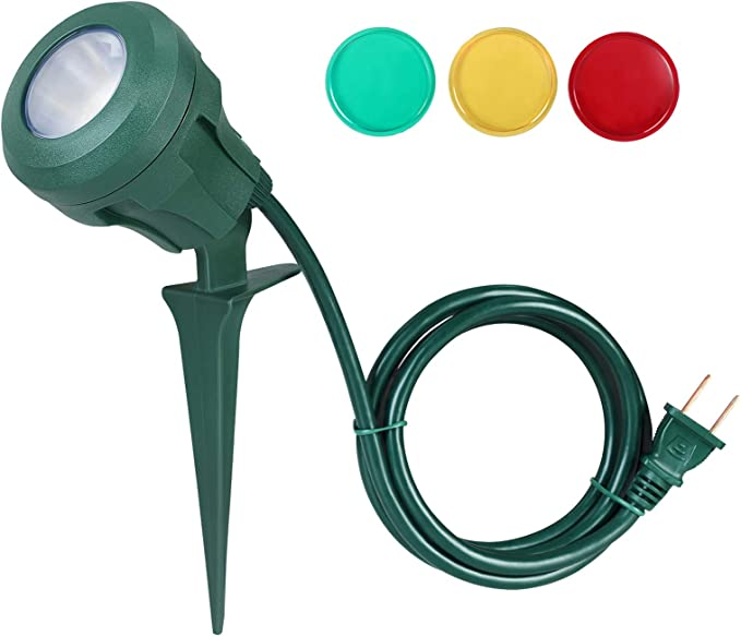 Dewenwils Outdoor Spotlight Plug In 400lm Led Waterproof Landscape Flag Floodlight Spike With 3 Lenses Red Yellow Green For Tree Yard Garden Decor 5 Ft Extension Cord Ul Listed