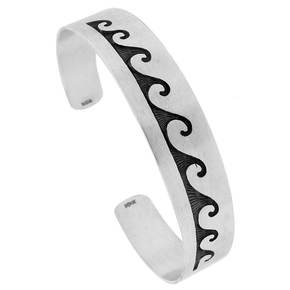 Sterling Silver Wave Cuff Bracelet Southwestern Hopi Design Handmade 7.25 inch