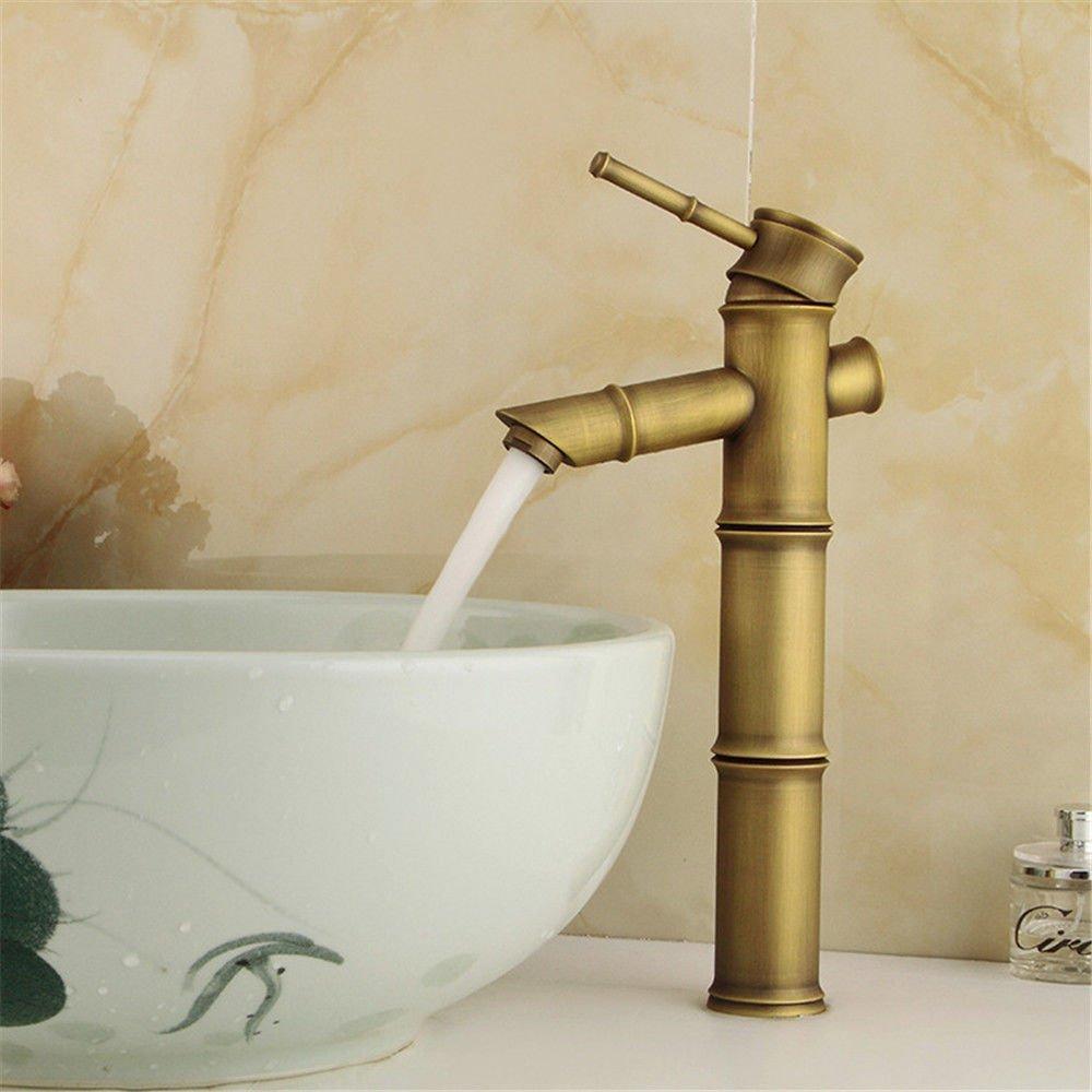 Wasserhahn Küche Bad Armatur Waschbecken gebürstet Küchenspüle Waschtisch Armatur Garderobe Waschbecken Mischbatterie Waschtisch Armatur Bad Bambus Mischbatterien Tippen Sie auf