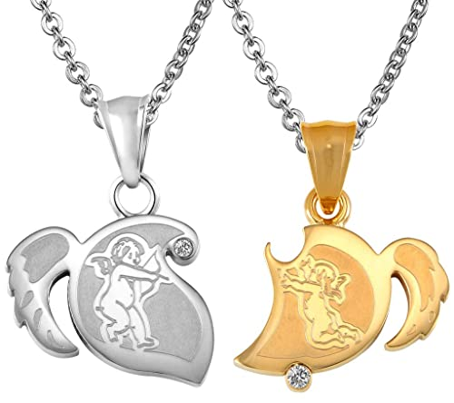 29b1fdfe5f58 ANAZOZ Stainless Steel Necklaces, Women's Men's Chain Pendant Cupid ...