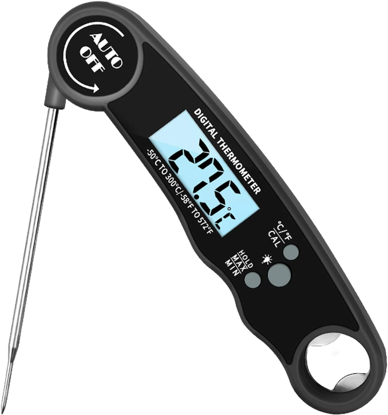 Waterproof Digital Instant Read Meat Thermometer, Probe Food Thermometer with LCD Backlight Magnet for Kitchen and Outdoor Cooking BBQ Oven Safe Grilling (Black)