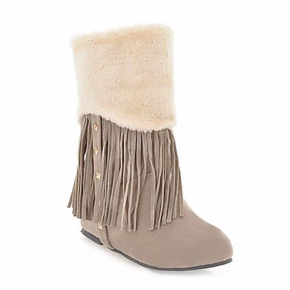 ZHUDJ Scarpe Donna Comfort Winter Snow Tonda Boots Stivali Punta Tonda Snow  Mid-Calf Stivali Rivetto Infiorescenza Staminifera(S) Per Casual Marrone Di  ... 2cce2d3e872