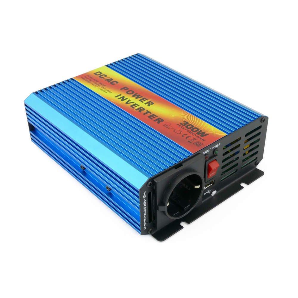 Cablematic Inversor eléctrico de onda pura ~VDC a VAC W USB solar