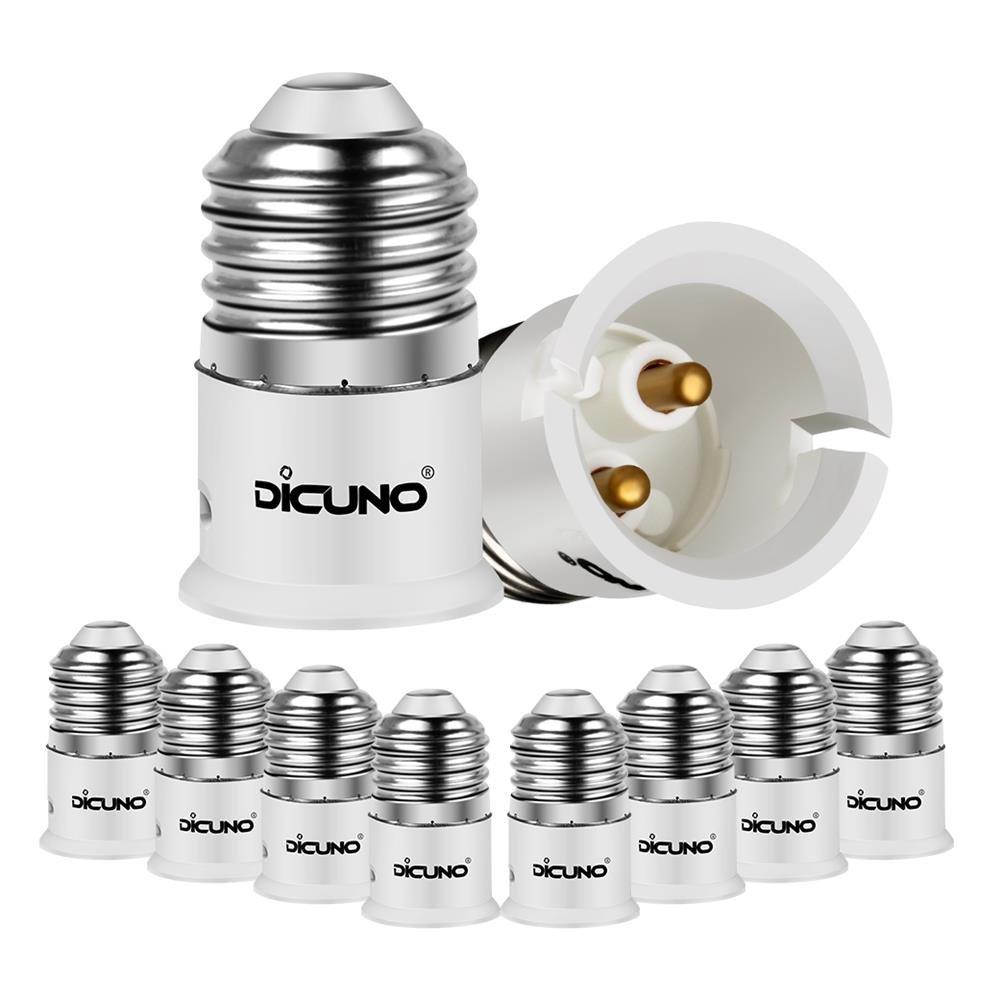 DiCUNO E27 vers B22 Adaptateur de douille de 10 pièces Adaptateur de Convertisseur de douille base de lampe de haute qualité pour ampoules LED et ampoules à incandescence et ampoules fluocompactes