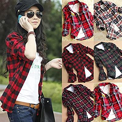 Women's Flannel Plaid Shirt, Casual Slim Fit Boyfriend Plaids Shirt
