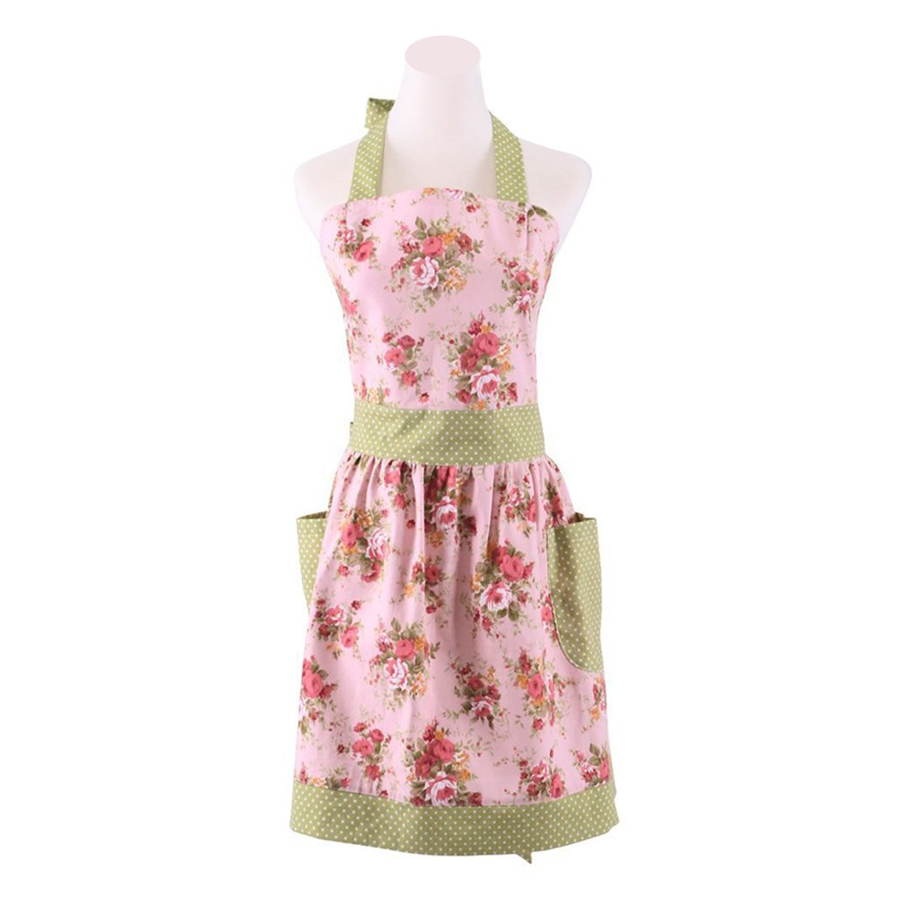 Mama-Child Set FirstKitchen COMINHKPR96278 Fashion Lovely Floral Garden Apron New Classic Style Pink Floral Cotton Apron Womens Cooking or Baking Apron with 2 Pockets Apron Great Gift for Wife Kid Girl Daughters Ladies
