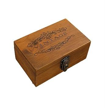 f6c02f327b アンティーク 風 木箱 収納 鍵 付き VINTAGE 柄 ボックス インテリア 雑貨 (vintage柄)