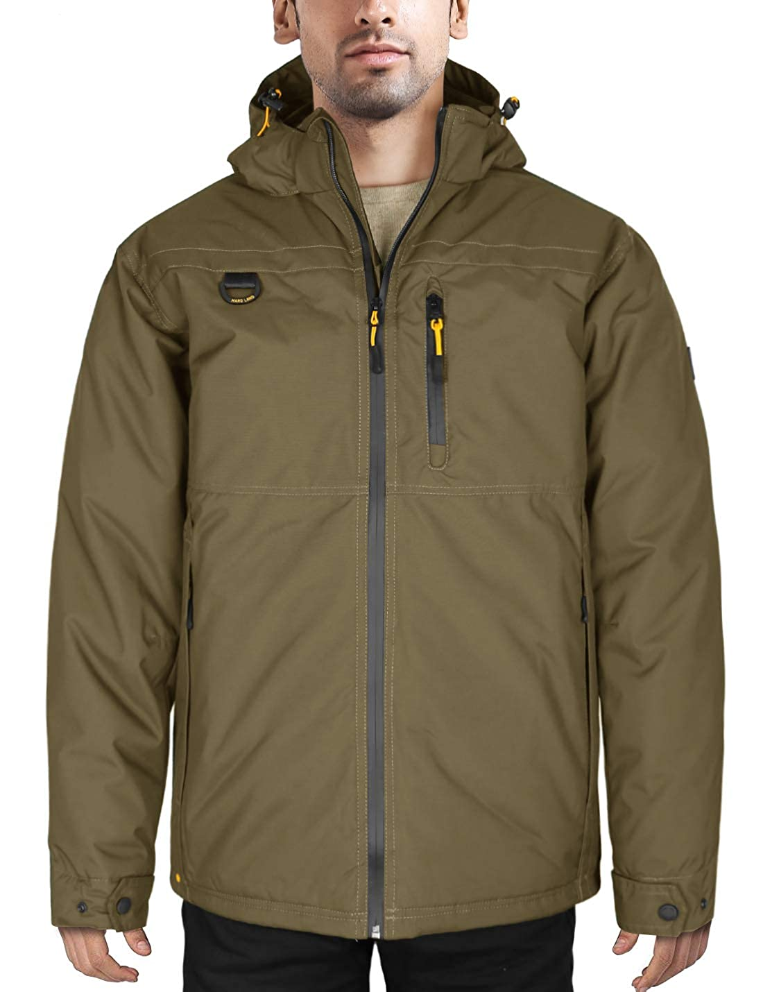 HARD LAND Men' s Waterproof Down Parka Jacket Winter Coats Warm Work Jacket with Removable Hood Ski Jacket, Fill Power 650
