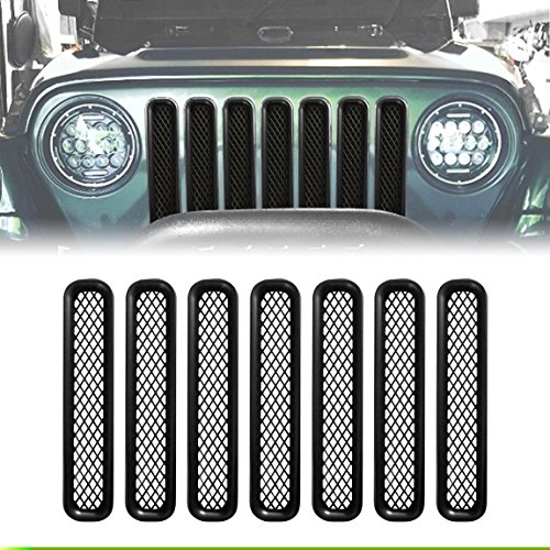 - Extreme Off-Road Jeep Wrangler Grill Inserts TJ Grille Inserts Square Hole Mesh Matte Black ABS Jeep Wrangler Accessories TJ &Unlimited Rubicon Sahara Sports1997 - 2006-7 Pcs