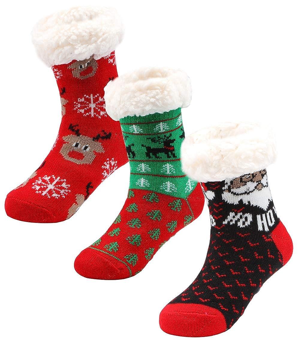 Boys Christmas Socks.Amazon Com 3 Pairs Girls Boys Slipper Socks Kids Winter