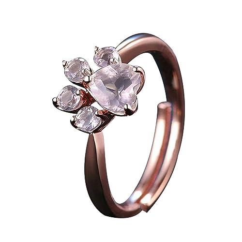 impression1pcs anillos Moda Diamantes niña accesorios para joyas diamante Pieno Diamante Carino Huellas anillo pareja anillos
