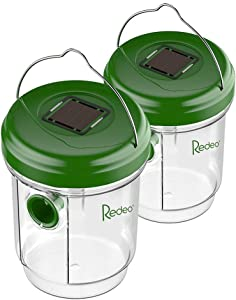 Redeo, Effective and Reusable 2 Pack Solar Powered Wasp Trap Catcher Killer with UV LED Light, Green