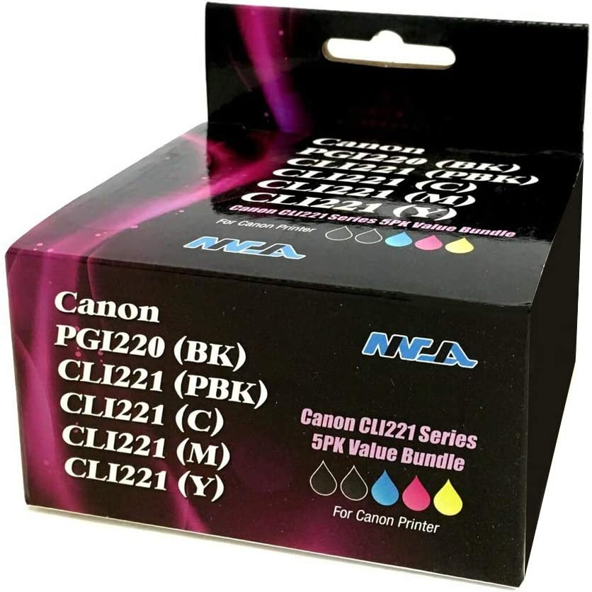 20 Pack, 4 Large Black 4 Small Black 4 Cyan 4 Magenta 4 Yellow Ninjatoner Re-Manufactured Ink Cartridge Replacement for Canon PGI-220 CLI-221 Pixma MP560 MP620 MP980 MP990 MX860 MX870 PMFP1 PMFP3