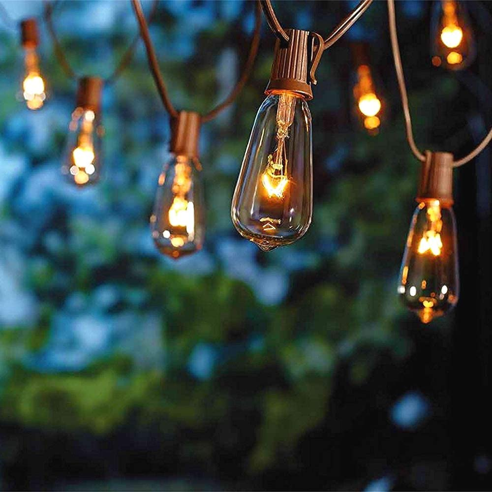 Amazon Com Sunsgne 20ft Outdoor Patio String Lights With 20 Clear Edison St40 Bulbs Plus 2 Extra Bulb Ul Listed C9 Light String For Backyard Deckyard Party Pergola Bistro Porch Pool Umbrella