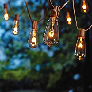 SUNSGNE 20Ft Outdoor Patio String Lights with 20 Clear Edison ST40 Bulbs (Plus 1 Extra Bulb), UL Listed C9 Light String for Backyard, Deckyard, Party, Pergola, Bistro, Porch, Pool Umbrella. Brown Wire
