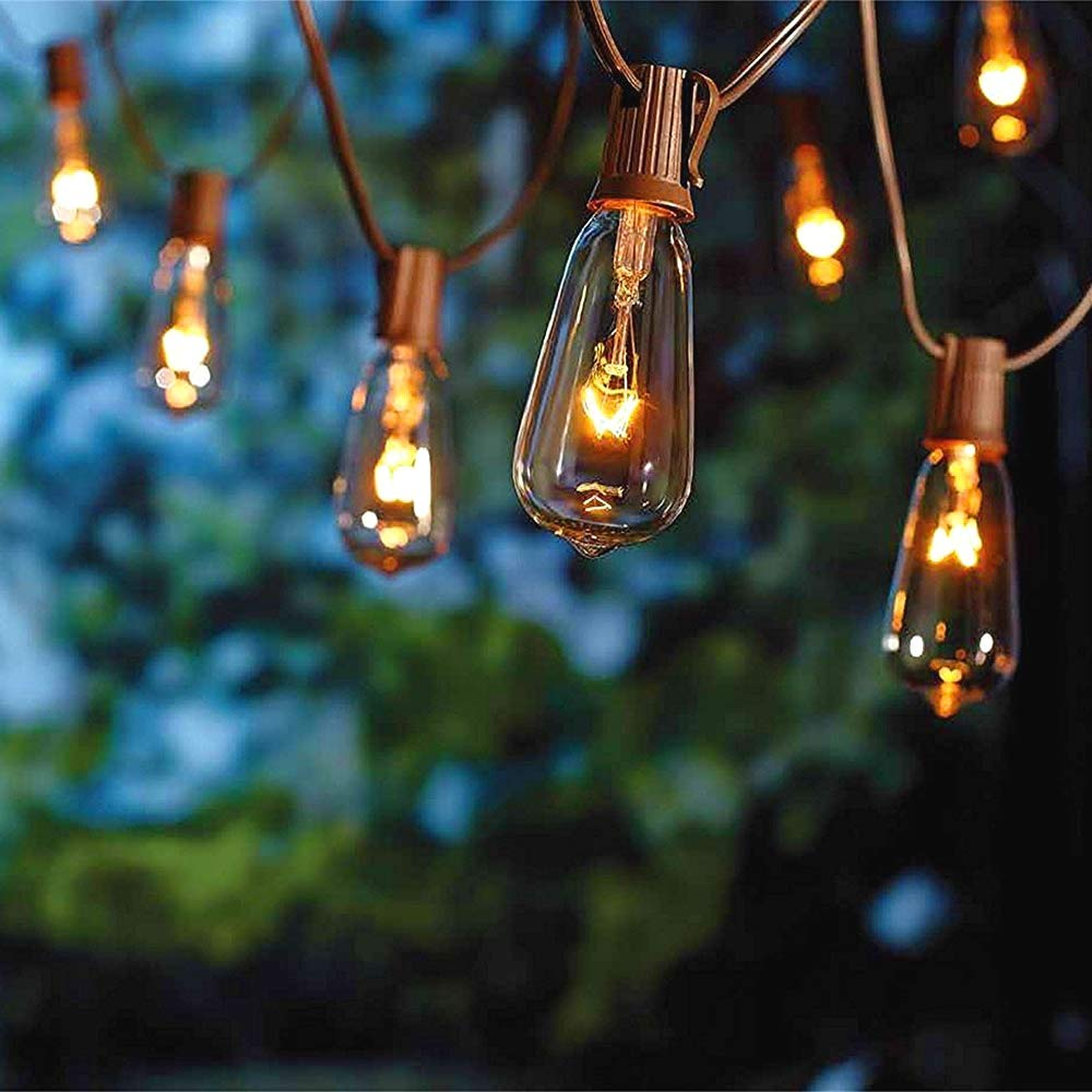 SUNSGNE 20Ft Outdoor Patio String Lights with 20 Clear Edison ST40 Bulbs (Plus 1 Extra Bulb), UL Listed C9 Light String for Backyard, Deckyard, Party, Pergola, Bistro, Porch, Pool Umbrella. Brown Wire by SUNSGNE