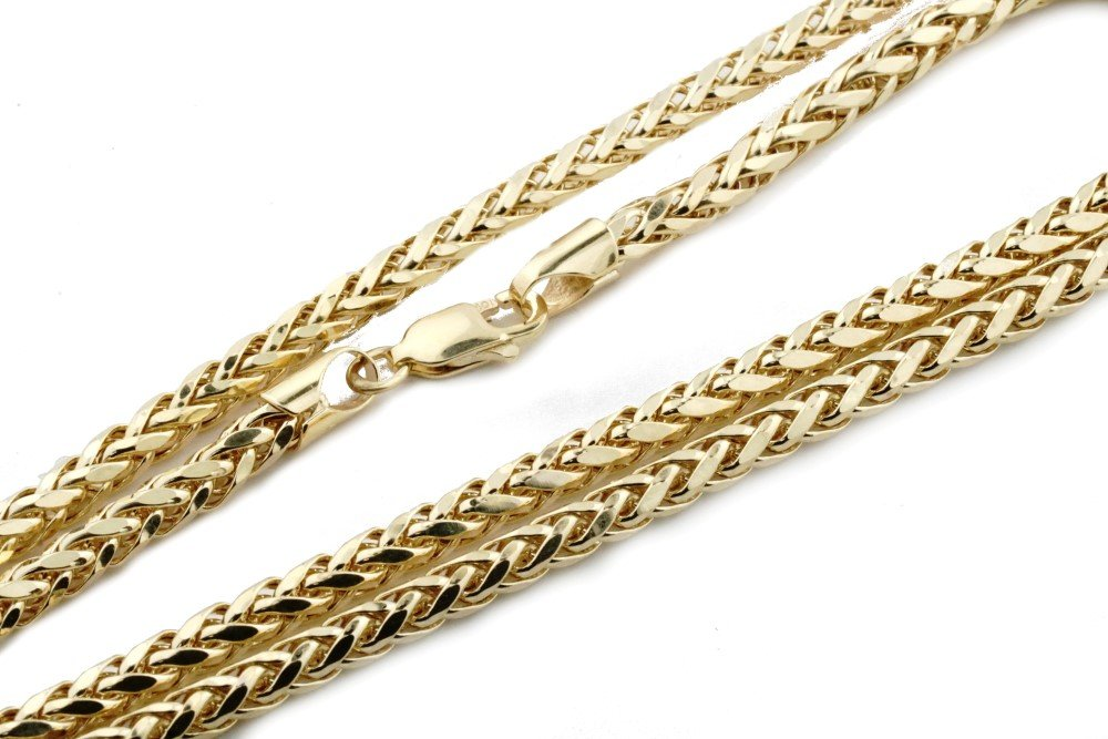 Midwest Jewellery 10K Gold Wheat Chain Palm Chain Necklace Womens or Mens Real Gold 3.5mm (26)