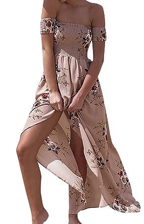 724c9acfc5 Vansha Women s Boho Off Shoulder Strapless Summer Beach Floral Slit Maxi  Dress Khaki
