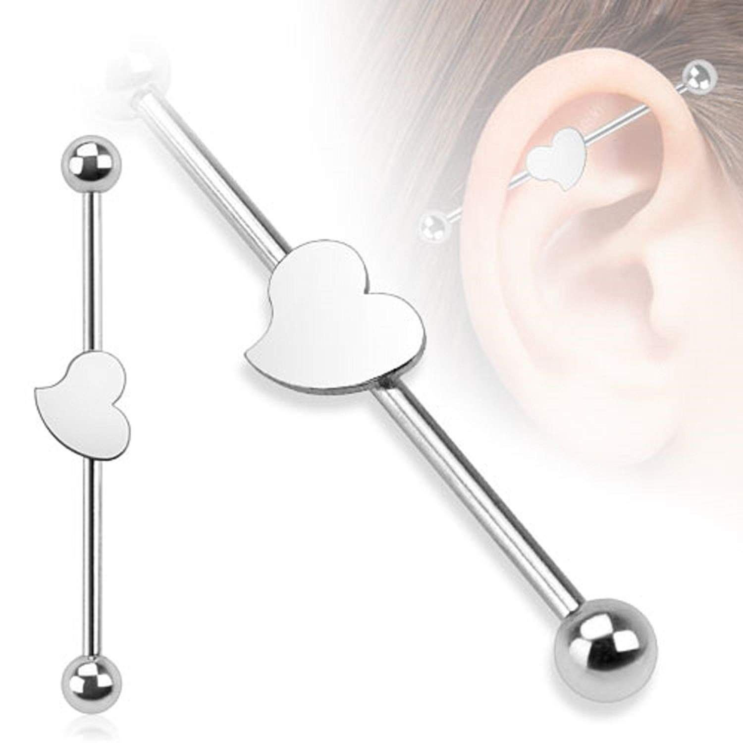14G 1.5 Surgical Steel Heart Industrial Barbell Cartilage Ear Ring Body Jewelry Piercing Pair ATMUSA 2 PCS