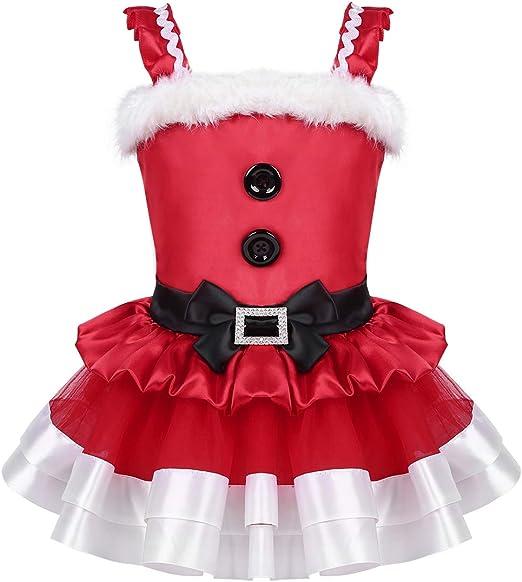 TiaoBug Baby Girls Princess Christmas Santa Claus Party Costume Top Dress with Shawl Hat