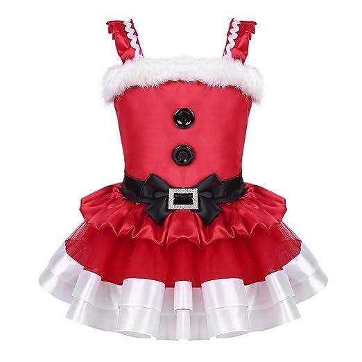 Alvivi Vestido Rojo de Navidad Bebé Niña Volantes Correas de Hombro Vestido Tutu de Malla Traje de Papá Noel Disfraz de Fiesta Infantil Cosplay