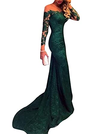 Marsen Womens Sexy Lace Mermaid Prom Dresses Long Sleeves Evening Formal Dress Green Size 2