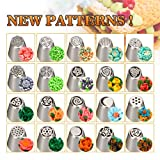 Russian Piping Tips - Russian Nozzles 44 Piece Baking Supplies Stainless Steel Russian Tips Set Cake Decoration Tips 20 Icing Nozzles Piping Nozzles kit Cake Decorating Supplies Set Flower Nozzle Tips