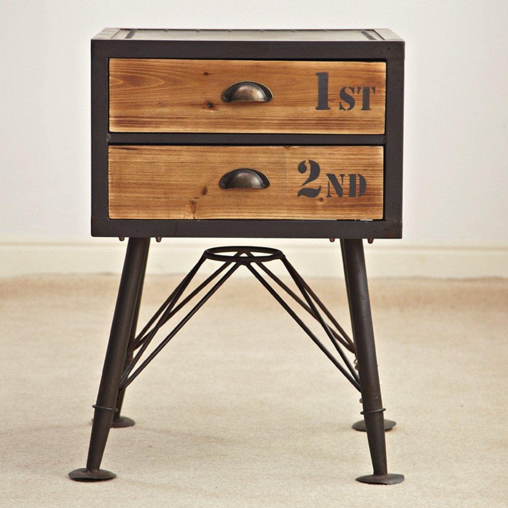 Vintage old bedside table Storage cabinets [iron] Creative bucket cabinet Storage cabinets Bedside table Solid wood drawer storage cabinet-A 55x32x90cm(22x13x35)