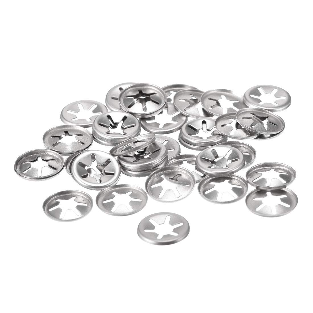 M6 Starlock Washer 5.1mm I.D 15 mm Outer Diameter Internal Tooth Lock washers Thrust Lock Speed Clip 304 Stainless Steel 40 Pieces