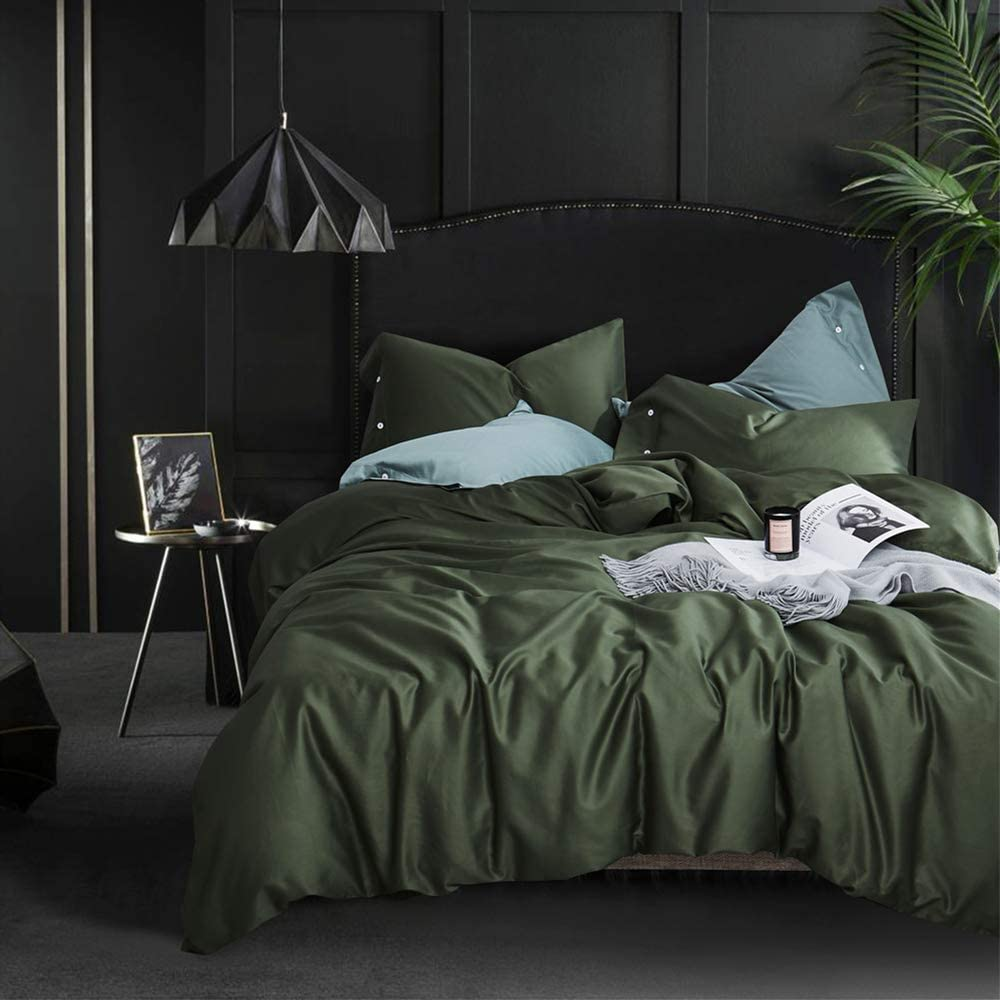 Amazon Com Mixinni 3 Piece Dark Green Duvet Cover Queen Cotton Modern Bedding Set With Two Pillowcases Perfect For Him And Her Soft And Breathable With Zipper Closure Corner Ties Dark Green Queen Full Home