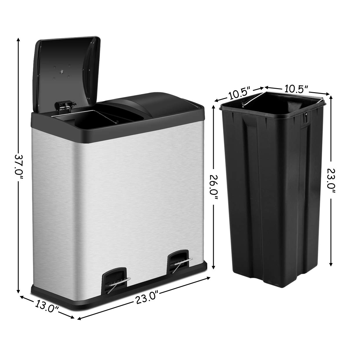 Amazon.com: Costzon Double Compartment Classified Step Trash ...