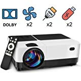 2500 Lumens LCD LED Portable Home Theater Video Projector, 40000+ Hours Support HD 1080P for Outdoor Movie Night, Family, Compatible with Phone, DVD Player, PS4, XBOX, HDMI, USB, SD