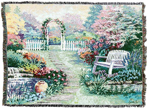 Pure Country Weavers | Loved One Garden Bench Tapestry Throw Blanket with Fringe Cotton USA 72x54