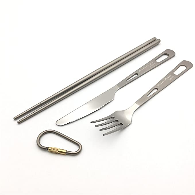 ZEARE Juego de cubiertos, tenedor de titanio, cuchillo ...