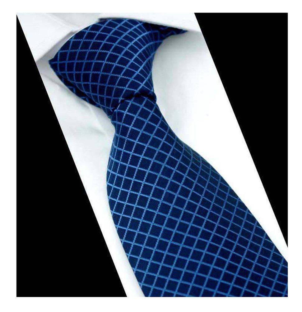 Men Narrow Navy Blue Check Woven Silk Tie Regular Soft Business Big Boys Necktie by Kihatwin (Image #1)